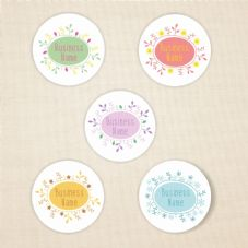 37mm Matt Paper Floral Stickers - Add Your Details